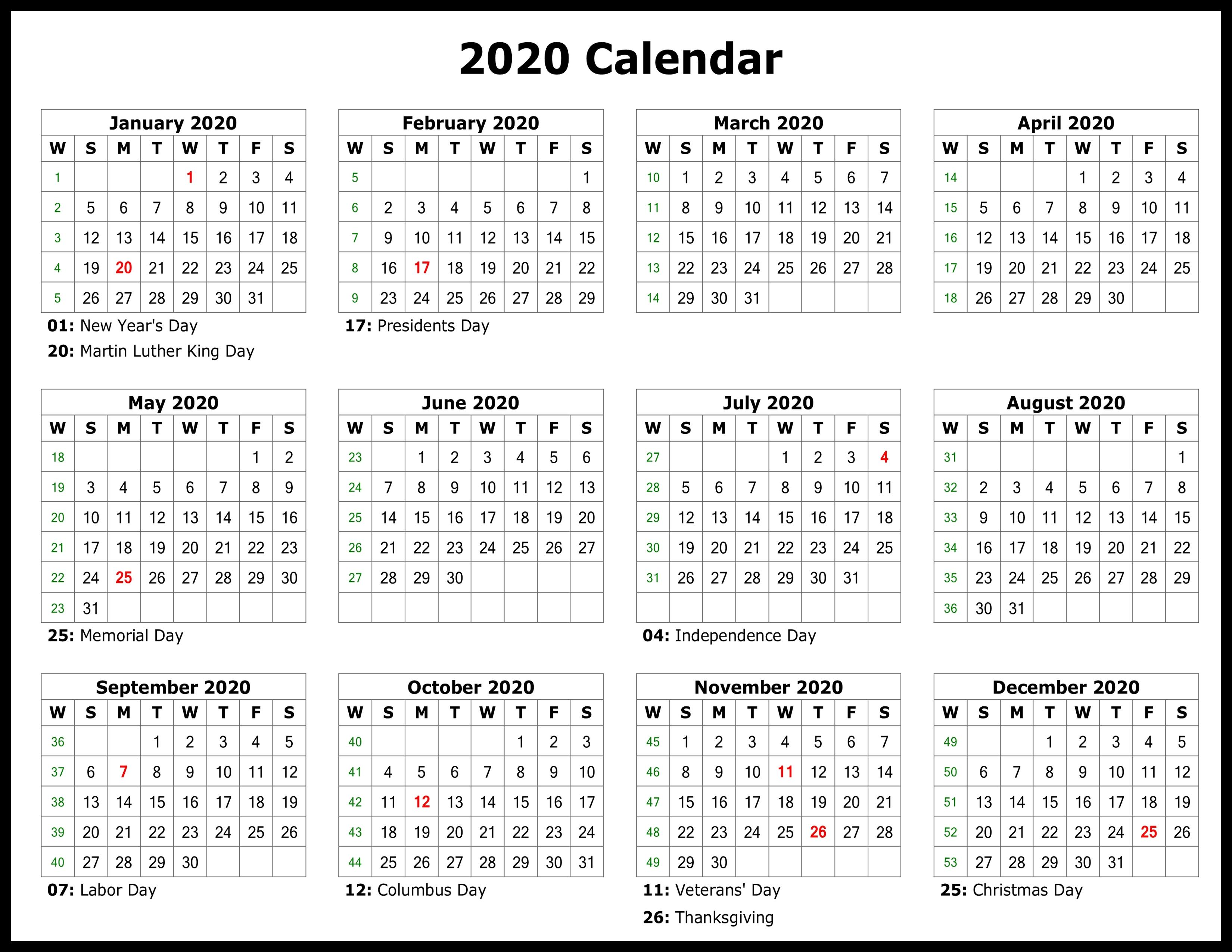 Free Printable Calendar 2020 Template In Pdf, Word, Excel