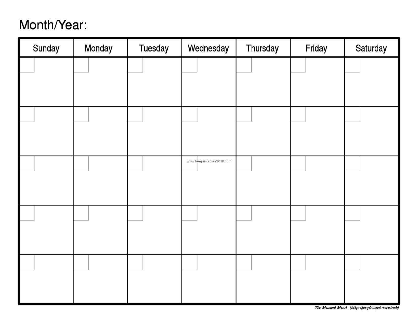 Free Printable Calendar Blank Free Printable Blank Calendar