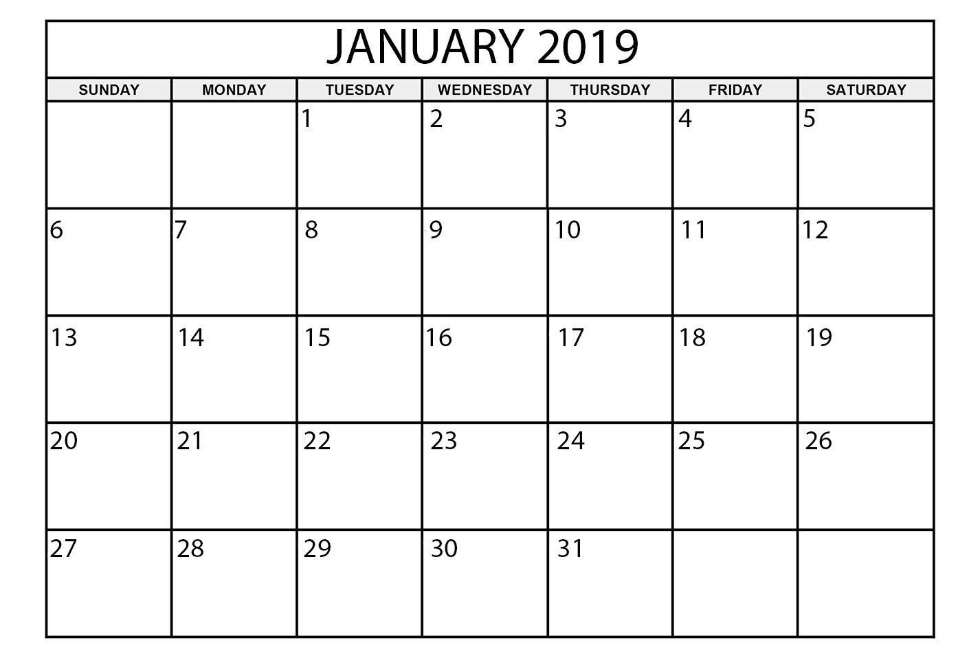 Free Printable Calendar January 2019 | Academic Calendar