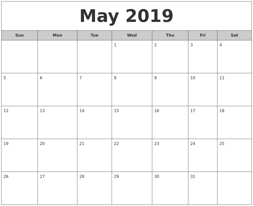 Free Printable Calendar May 2019 #may2019Calendar #may2019