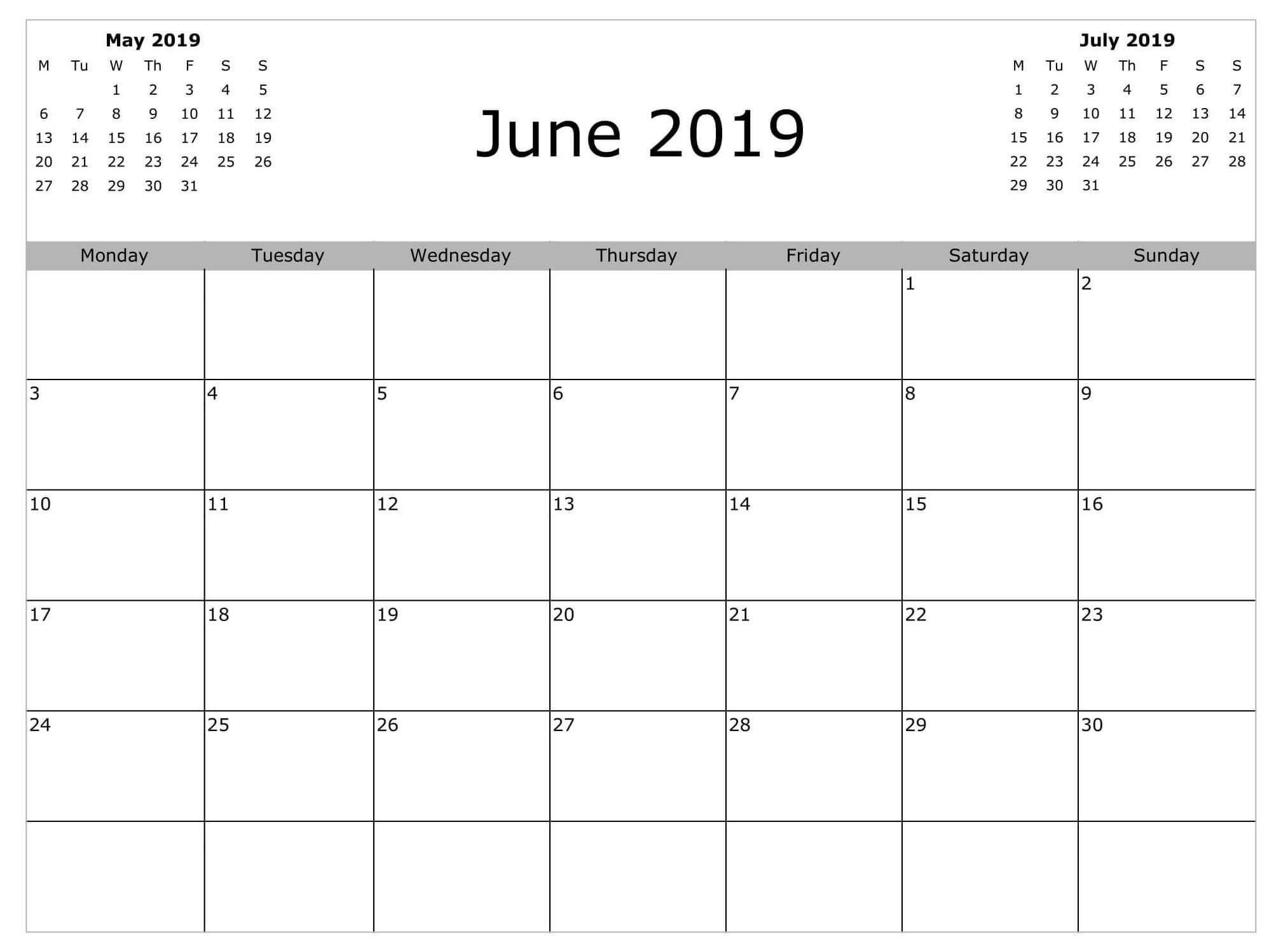 Free Printable Calendar Weekly June 2019 | Calendar Template