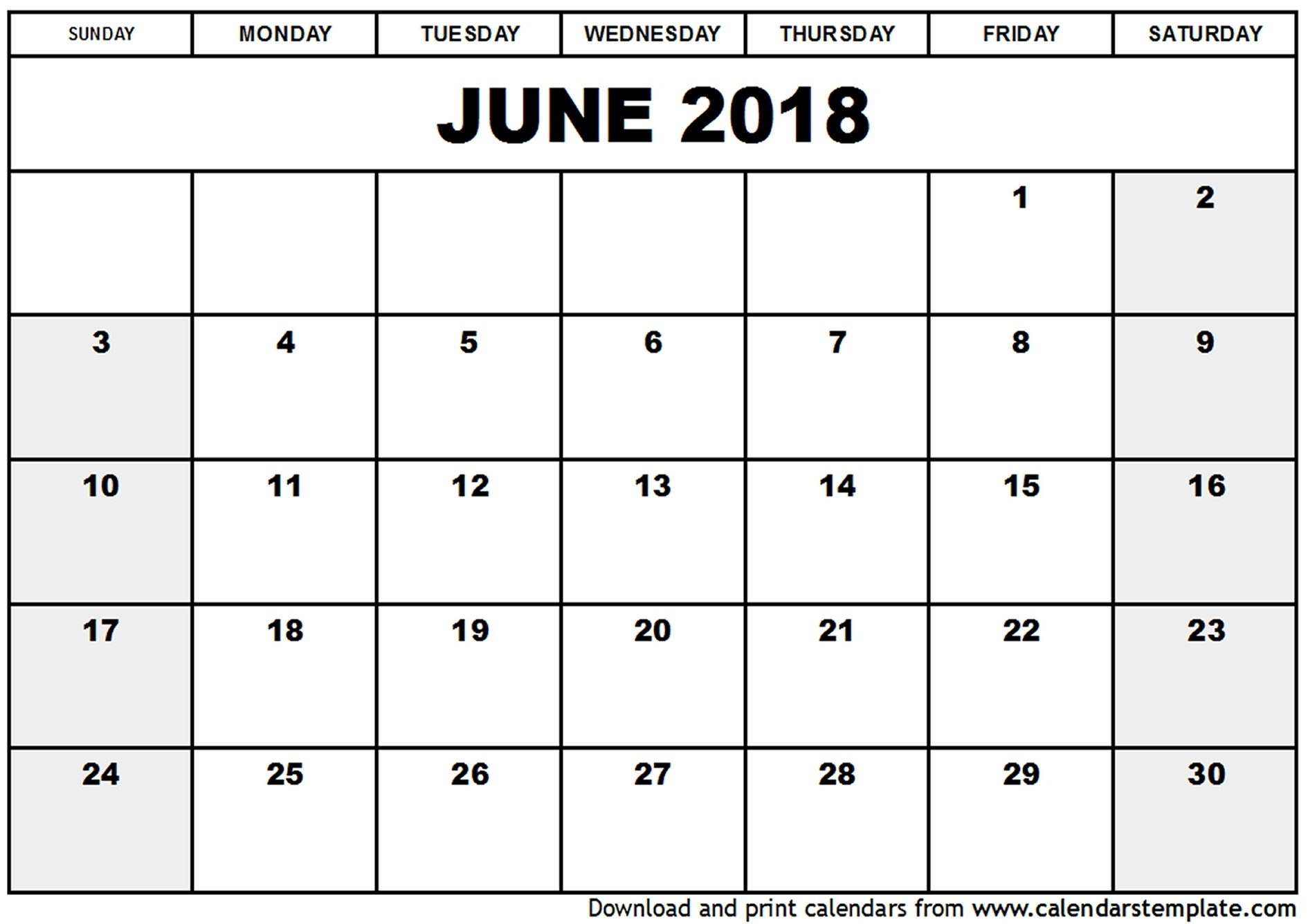 Free Printable Calendars 2018 Templates 026 Calendar June