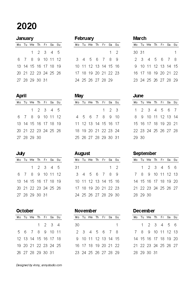 Free Printable Calendars And Planners 2020, 2021, 2022
