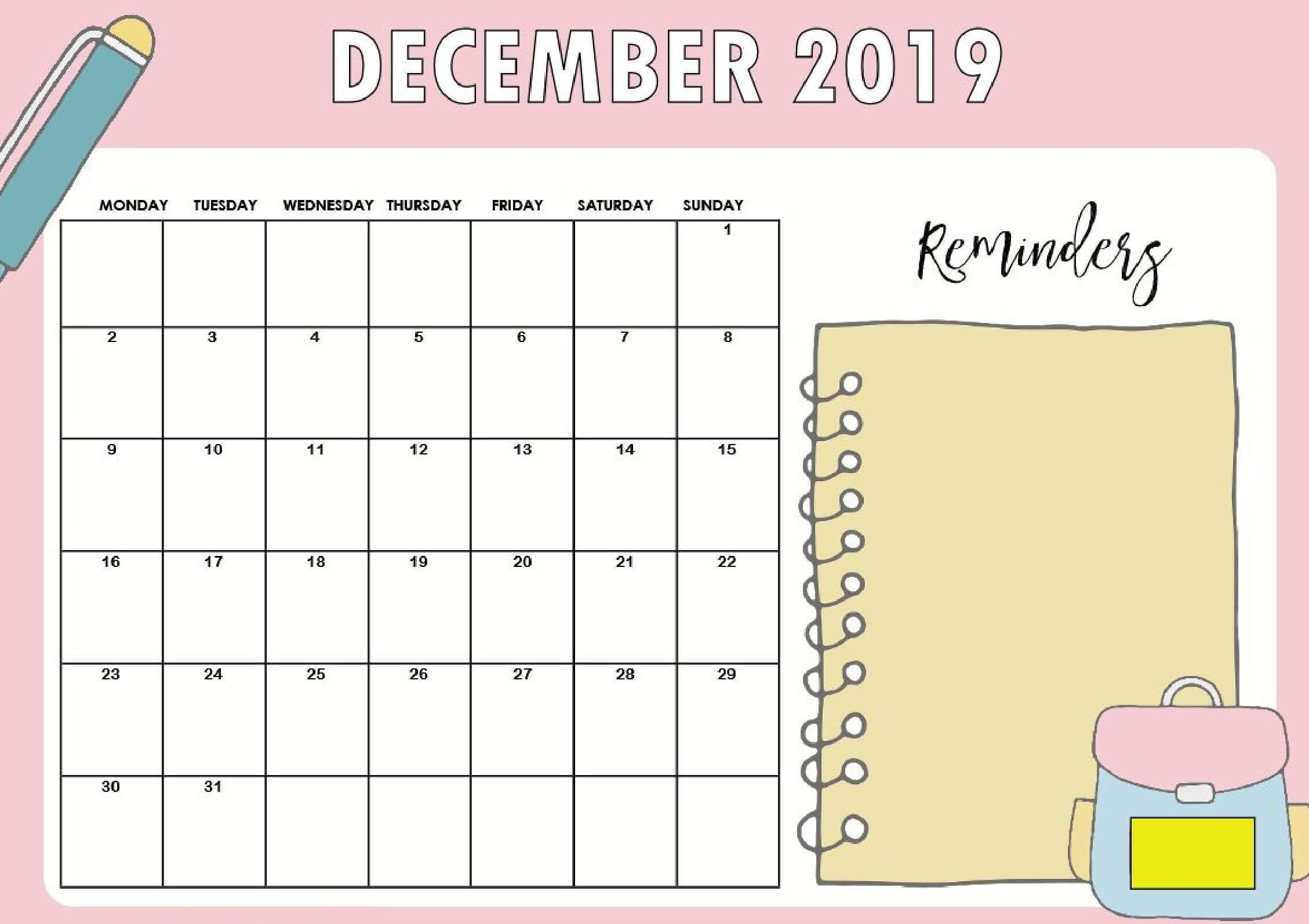 Free Printable December 2019 Calendar Pages With Notes - Set