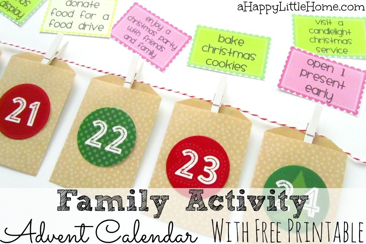 Free Printable Family Activity Advent Calendar Cards | Money