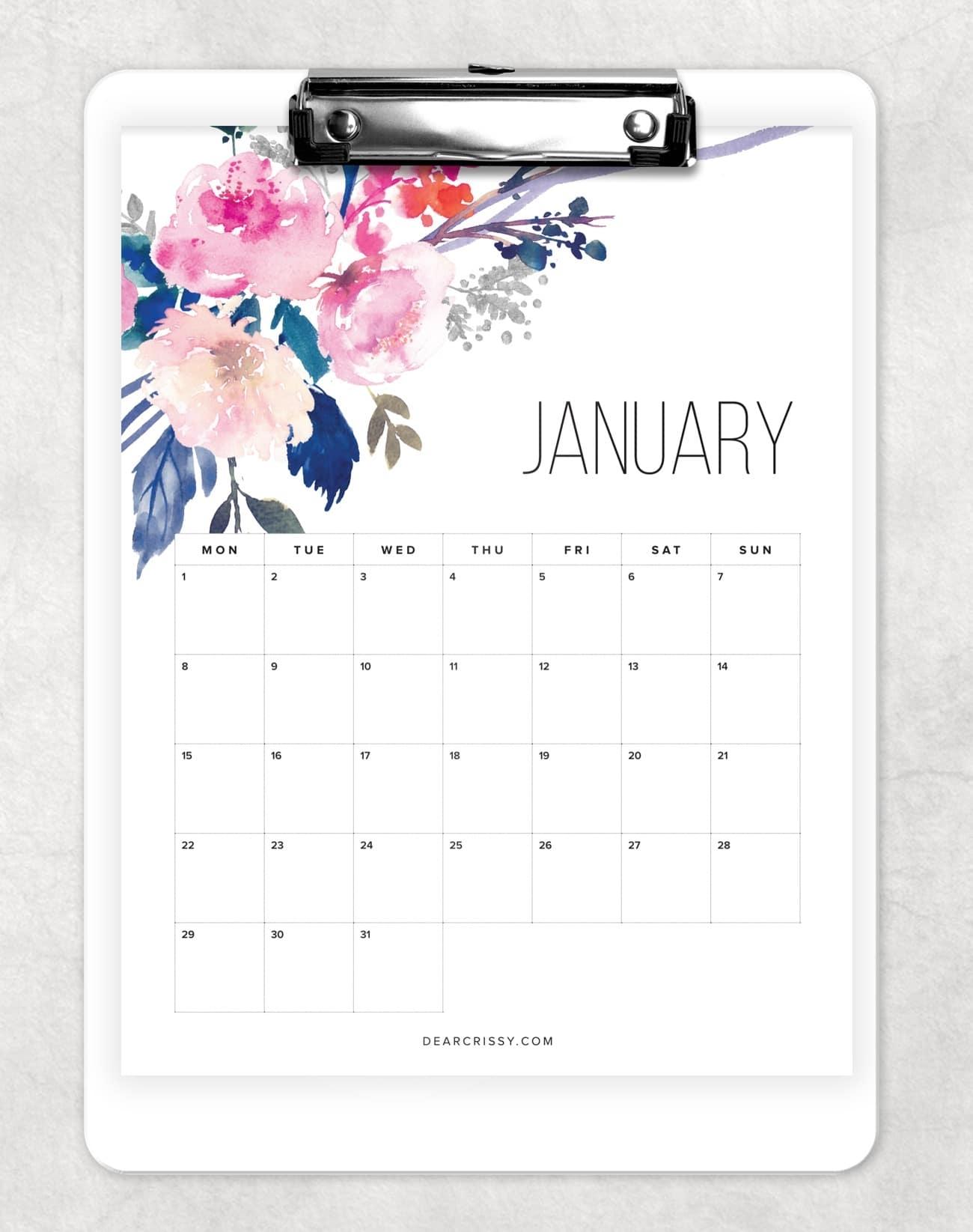 Free Printable Floral Calendar 2018 - Pretty Free Desk Calendar