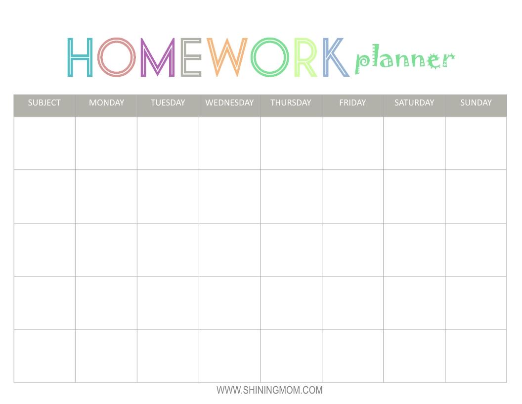 Free Printable: Homework Planner | Homework Planner