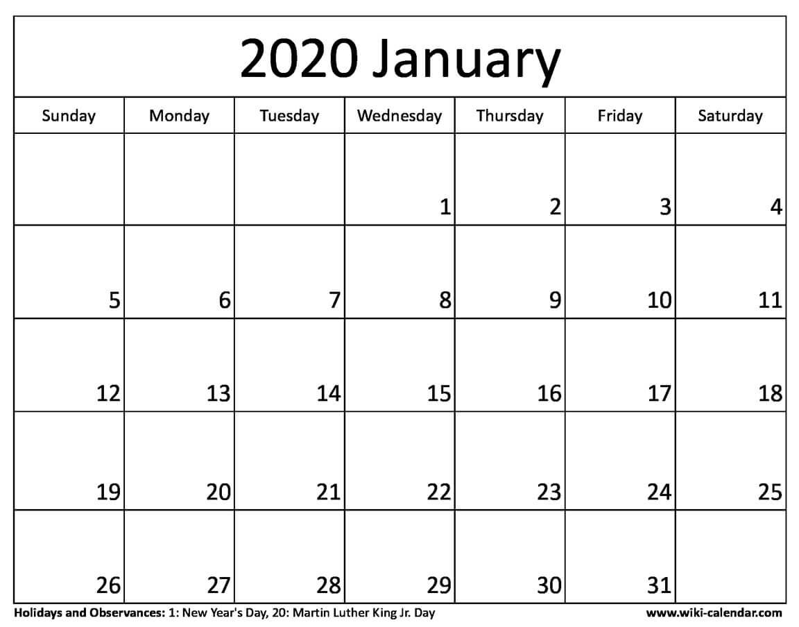 Free Printable January 2020 Calendar