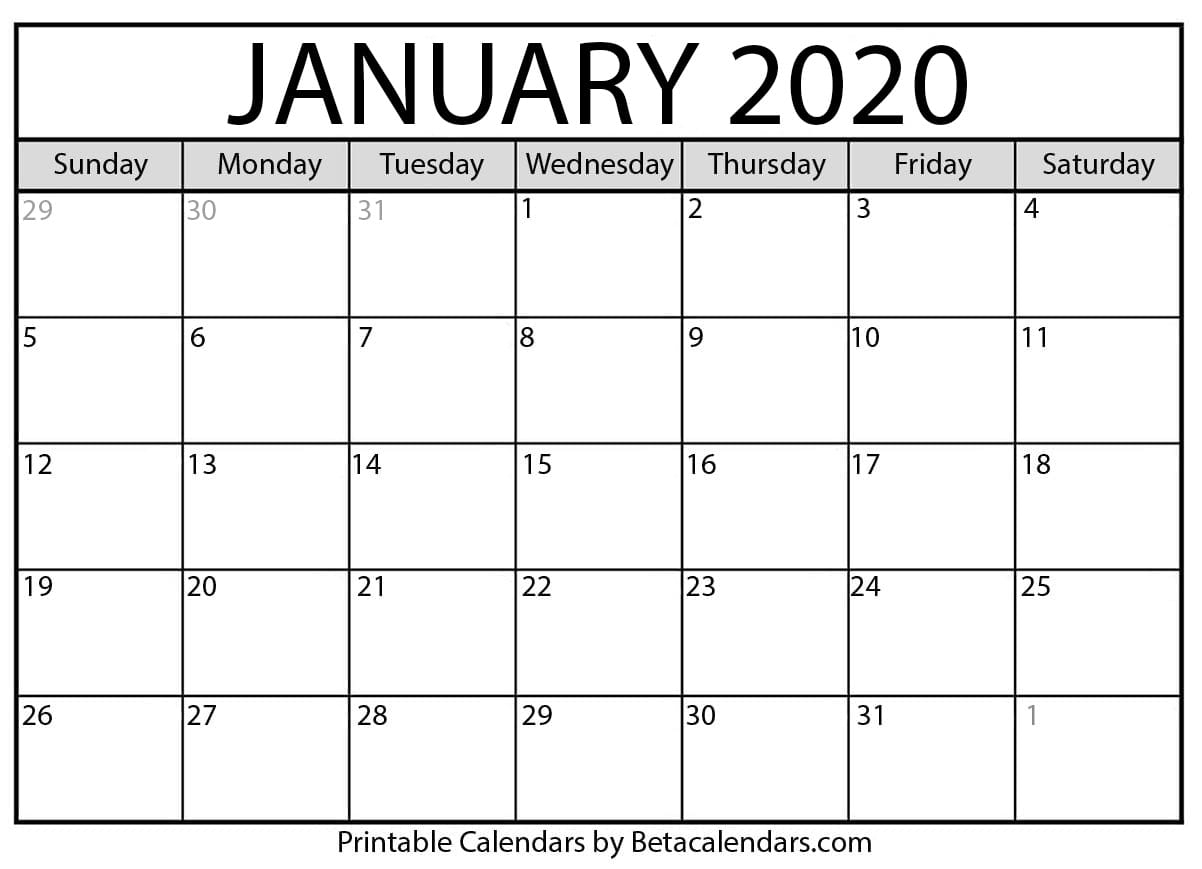 Free Printable January 2020 Calendar - Beta Calendars