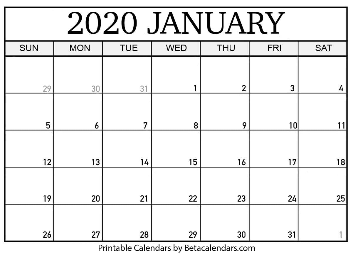 Free Printable January 2020 Calendar - Beta Calendars
