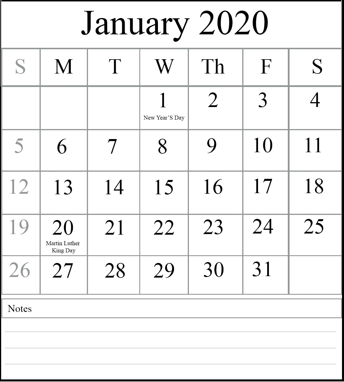 Free Printable January 2020 Calendar Editable In Pdf, Excel