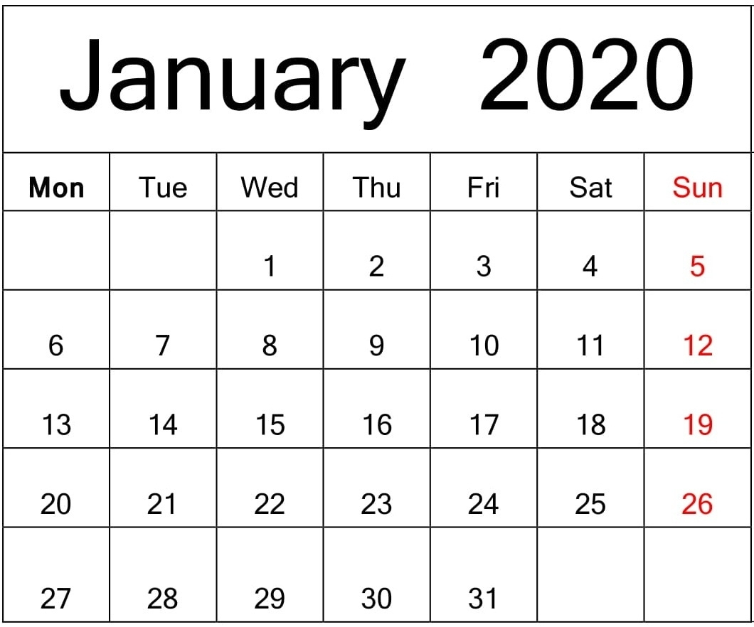 Free Printable January 2020 Calendar Google Sheets – Free