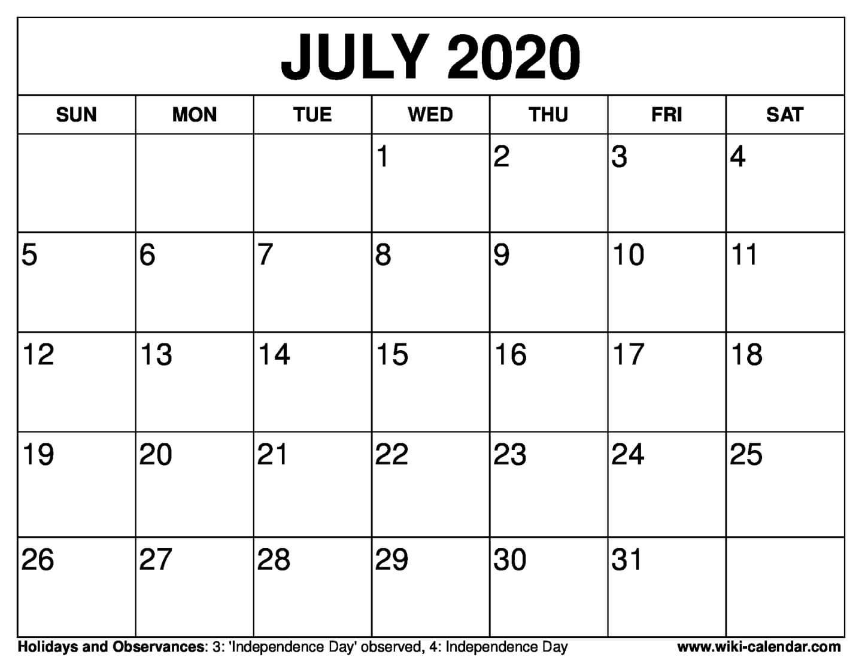 Free Printable July 2020 Calendar