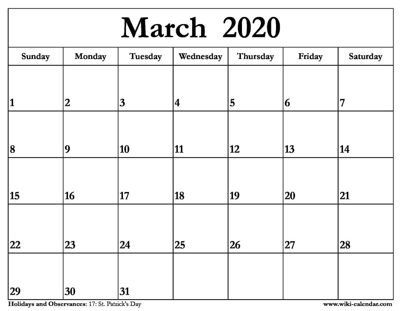 Free Printable March 2020 Calendar