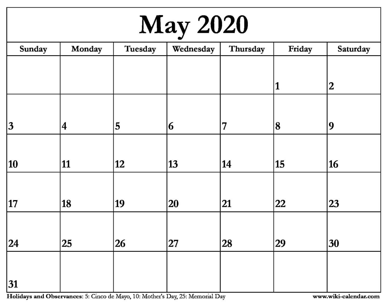 Free Printable May 2020 Calendar