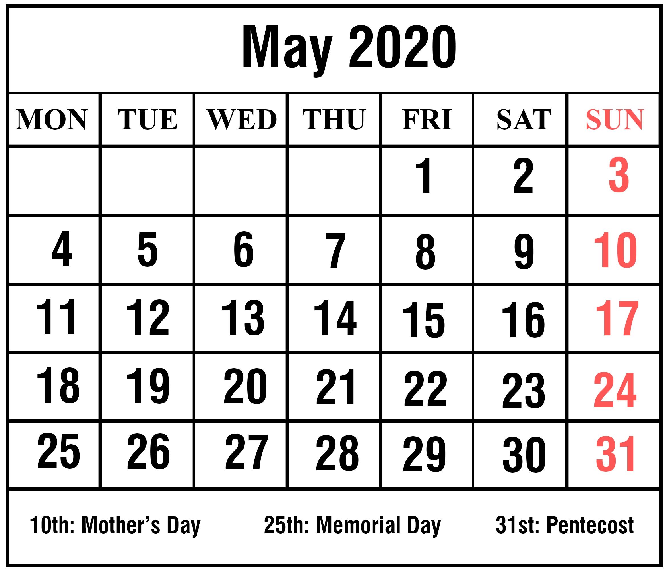 Free Printable May 2020 Calendar Templates [Pdf,word,excel
