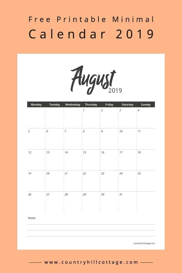Free Printable Minimal Calendar 2019 | Free Printables