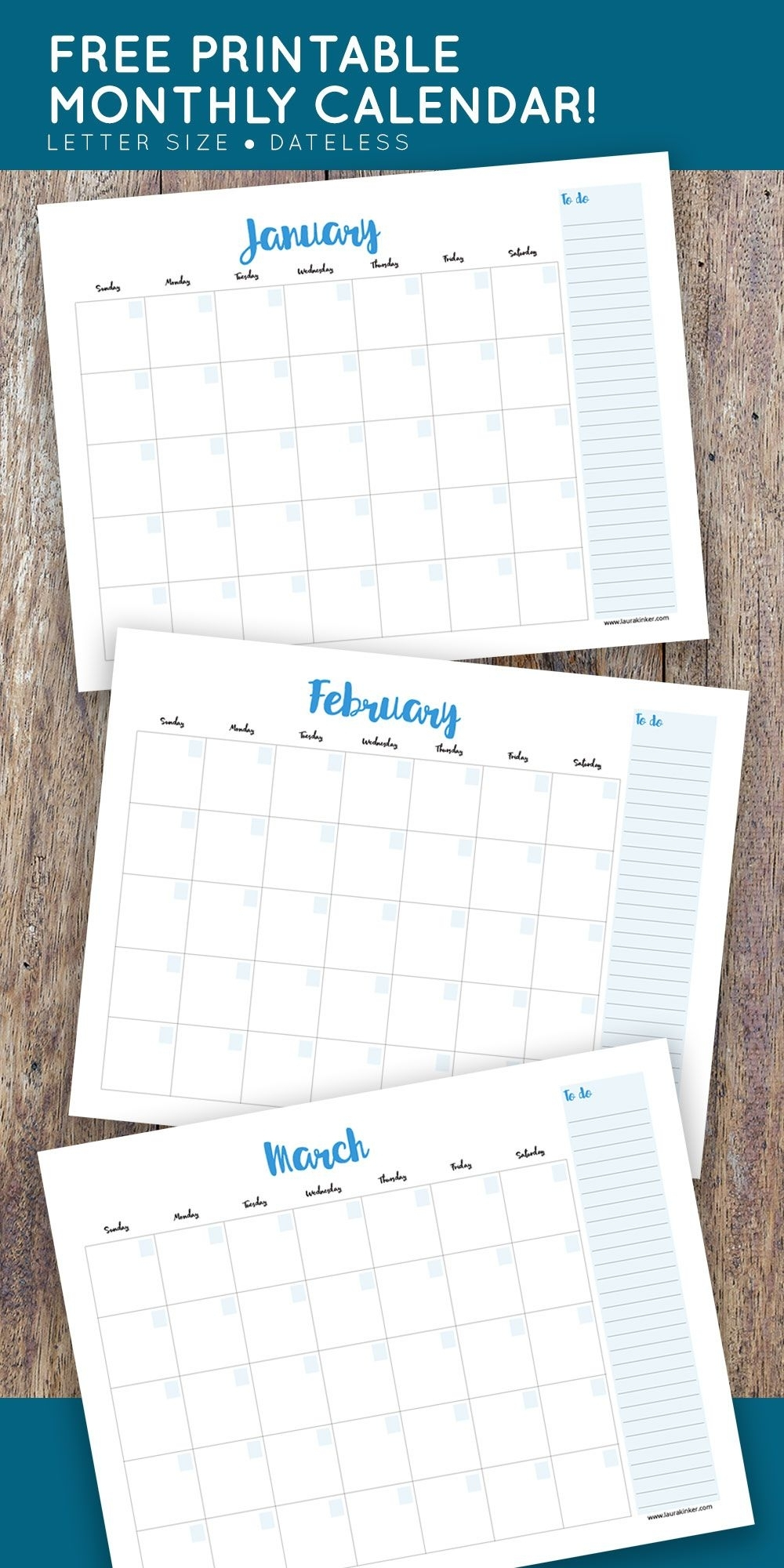 Free Printable Monthly Calendar - No Dates So You Can Use