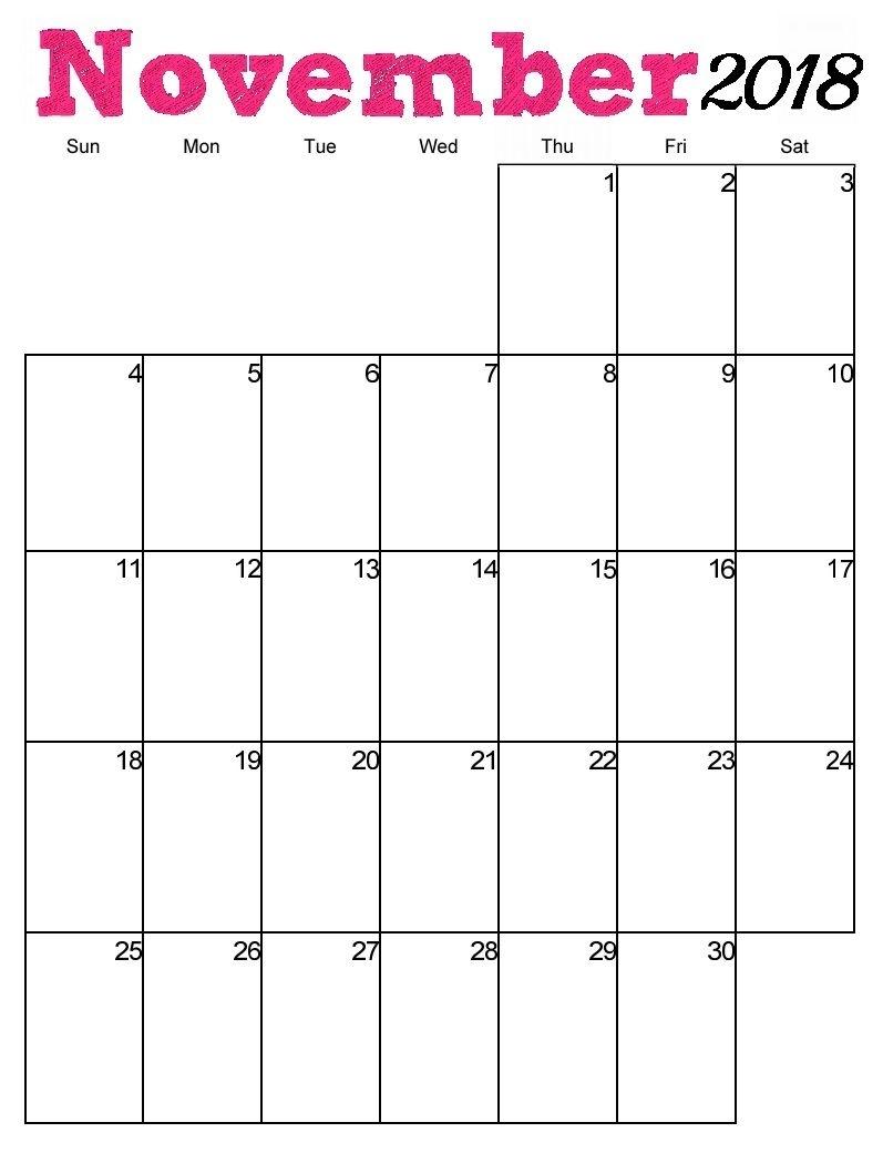 Free Printable November 2018 Vertical Calendar | Free
