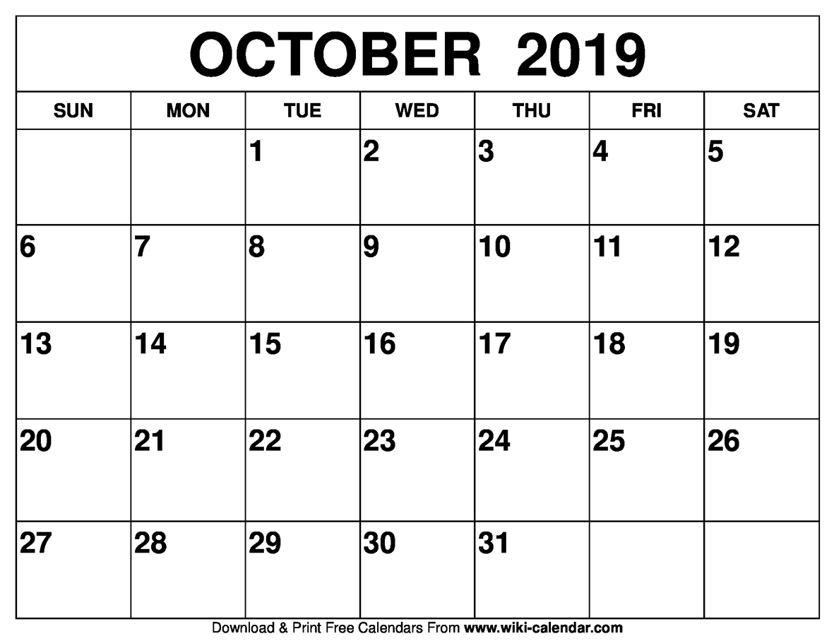 Free Printable October 2019 Calendar