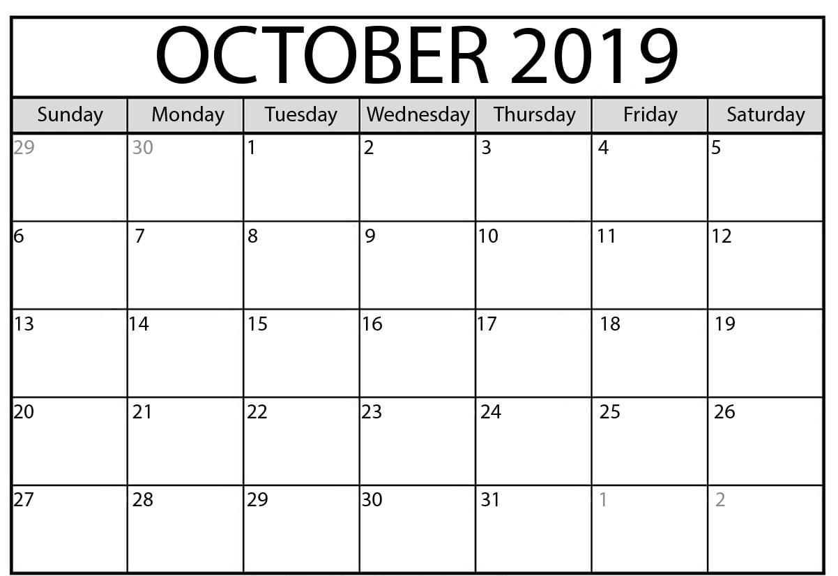 Free Printable October 2019 Calendar Template | Monthly