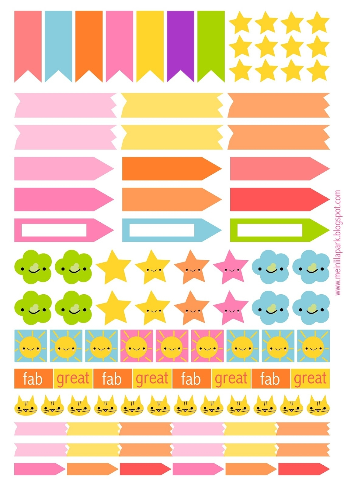Free Printable Planner Flags And Stickers - Ausdruckbare