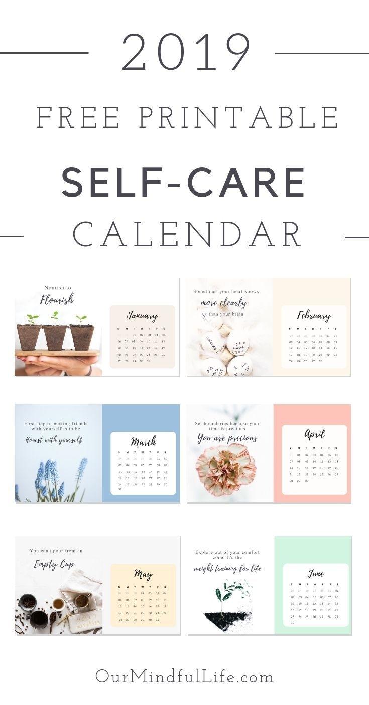 "Free Printable ""self-Care Reminder"" Calendar For 2019 | Self"
