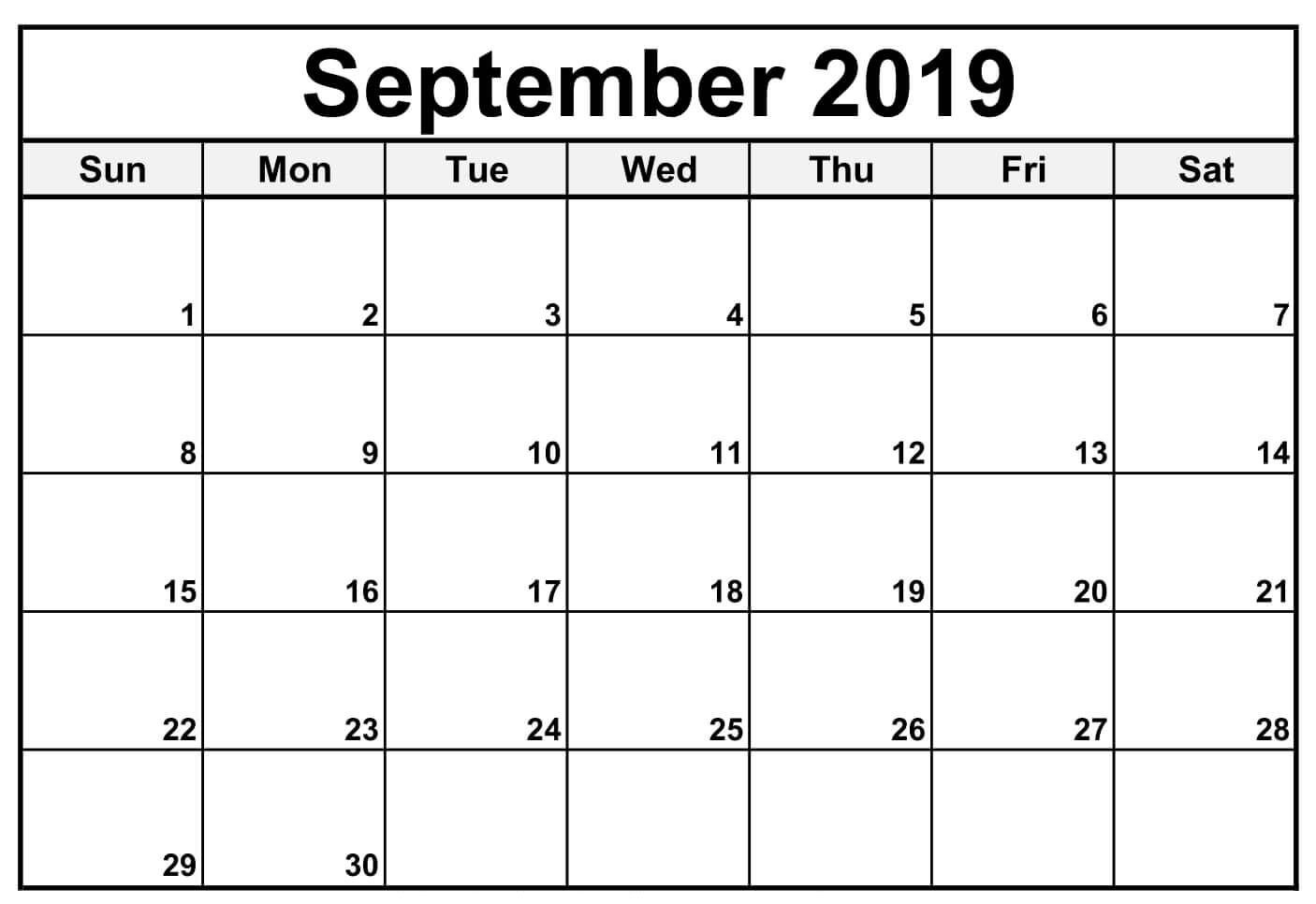 Free Printable September 2019 Calendar Download For Excel