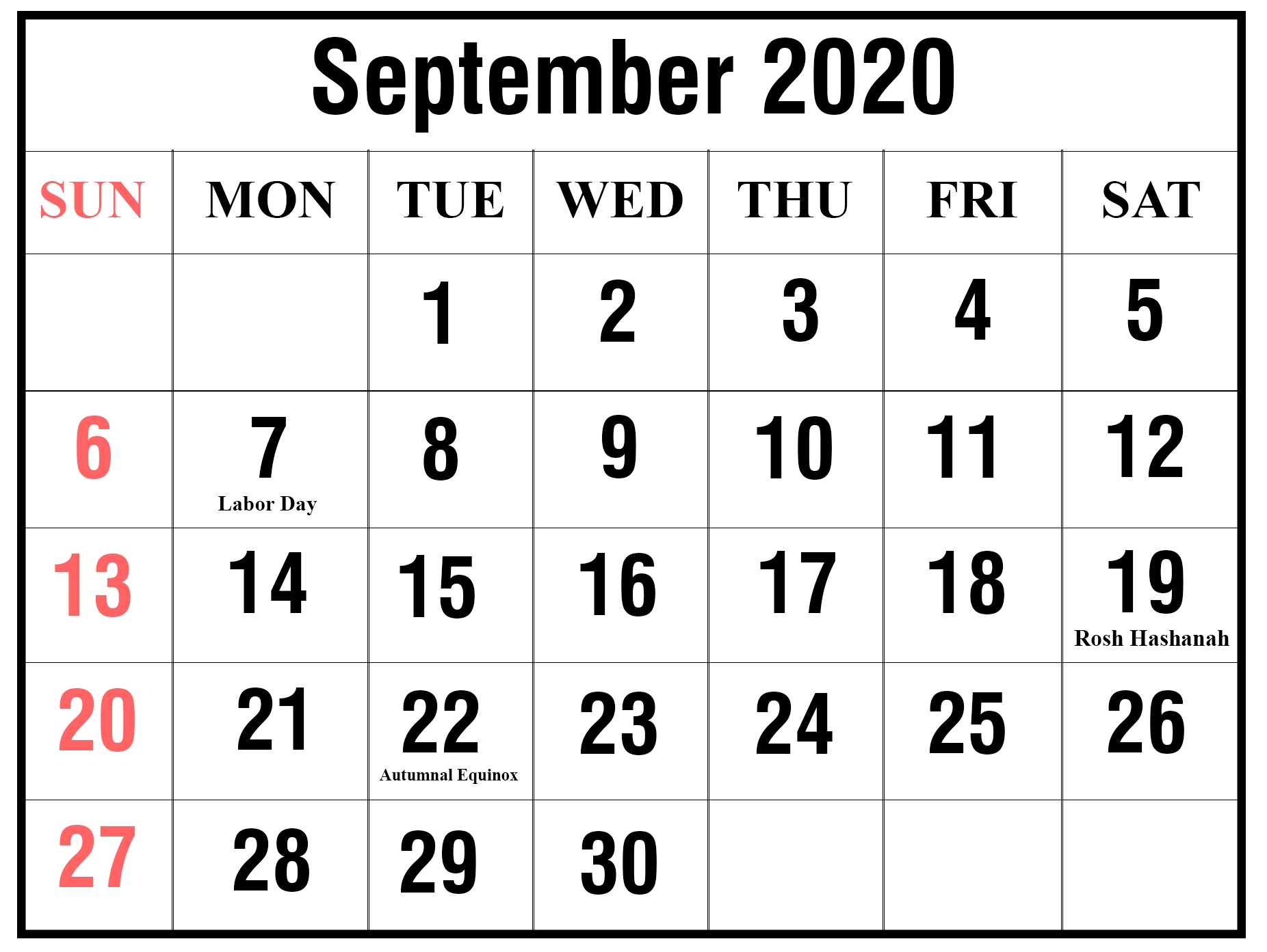 Free Printable September 2020 Calendar Templates [Pdf,word