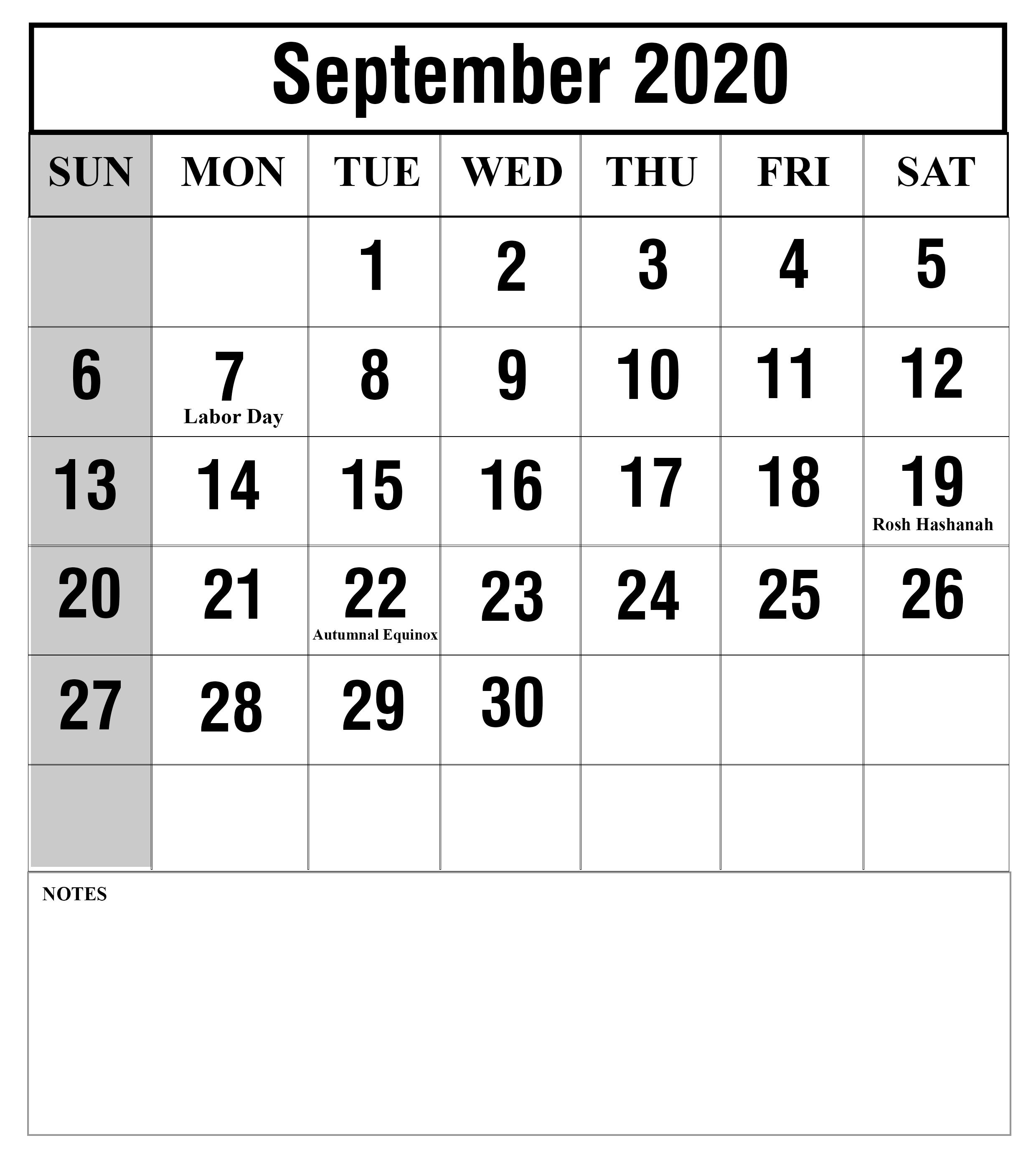 Free Printable September 2020 Calendar Templates [Pdf,word