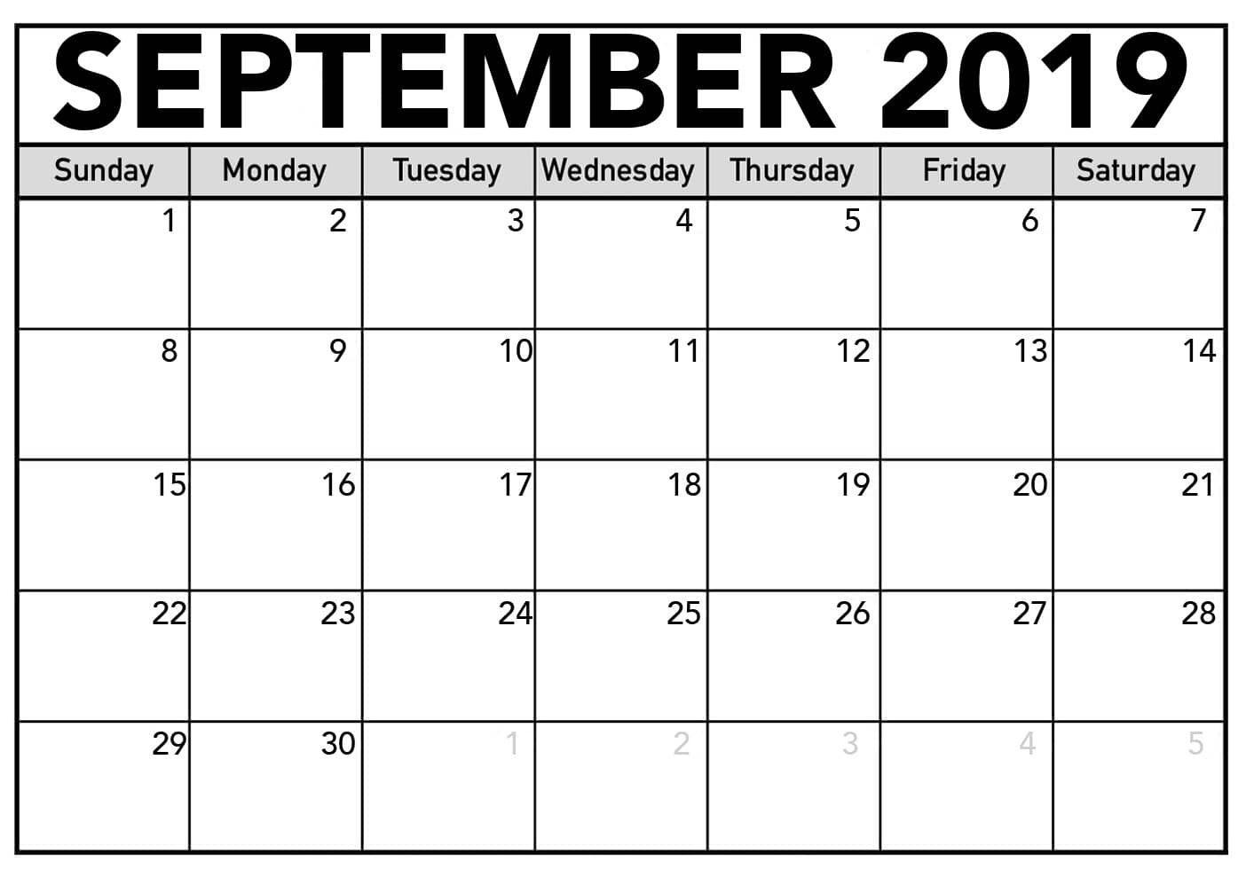 Free Printable September Blank Calendar 2019 | September