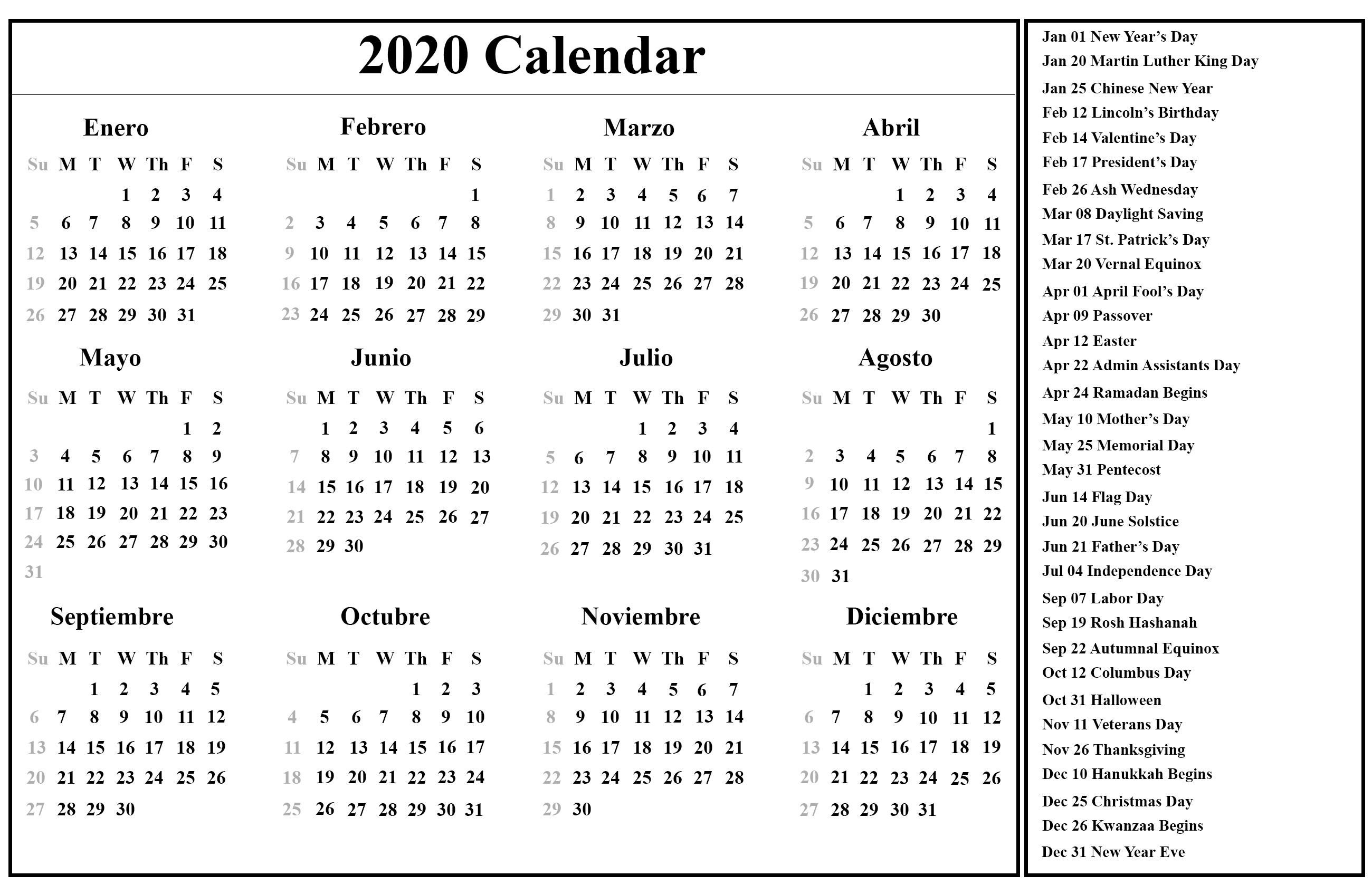 Free Printable Spanish Calendar 2020 | 2020 Calendario