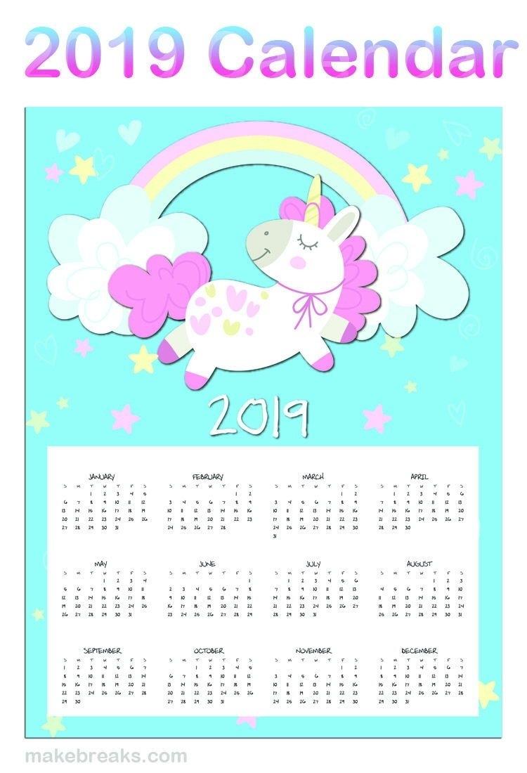 Free Printable Unicorn One Page 2019 Calendar | Unicorn