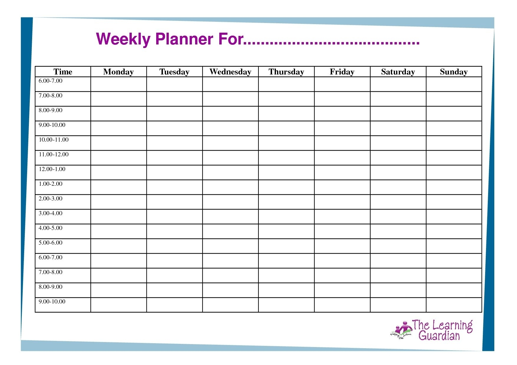 Free Printable Weekly Calendar Templates Weekly Planner For