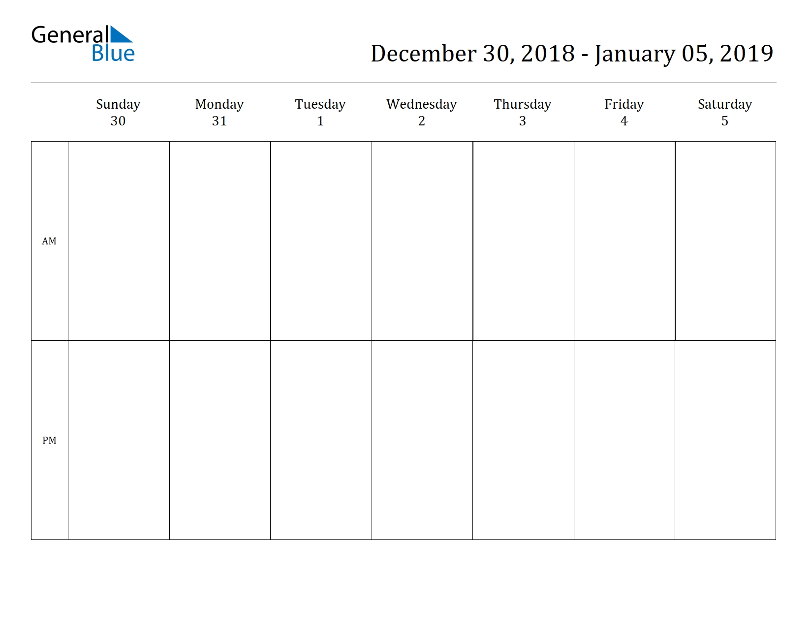 Free Printable Weekly Calendars For 2019 In Pdf Document Format