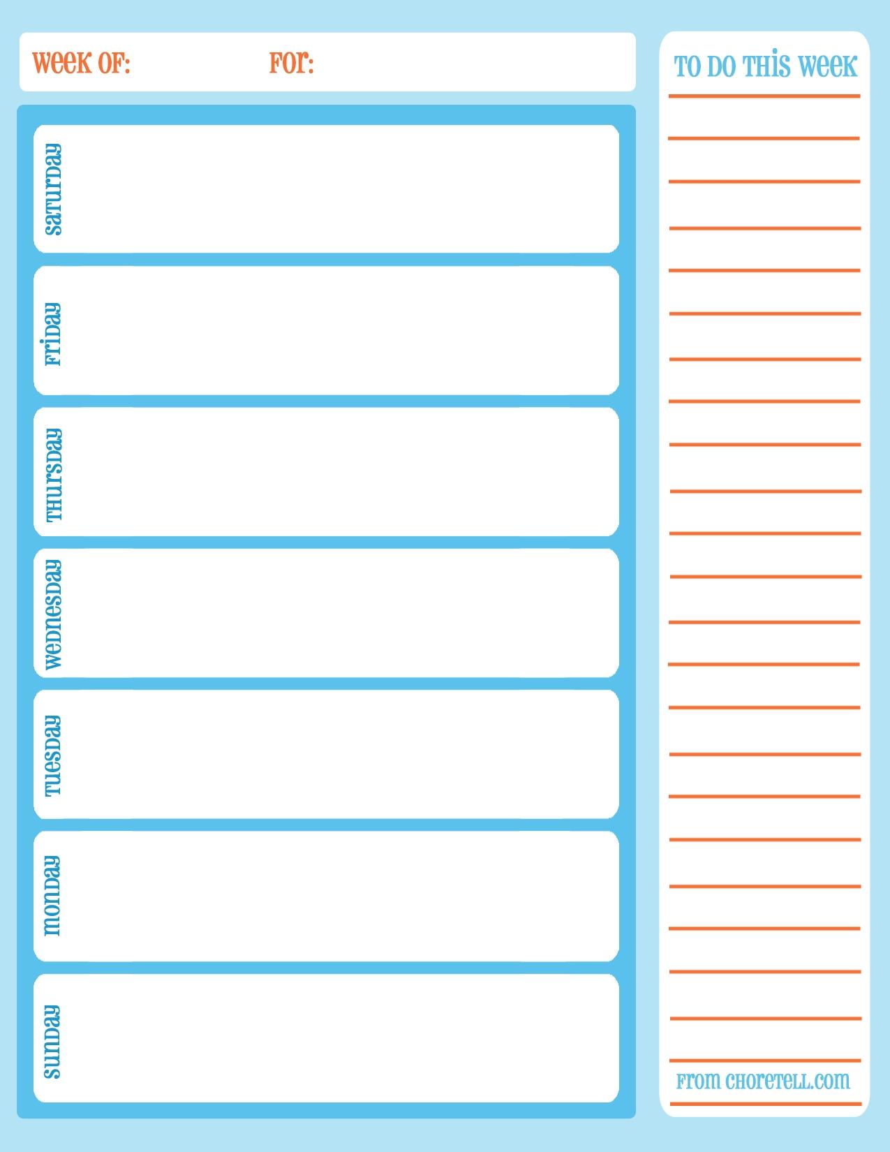 Free Printable Weekly Chore Calendar - Free Printable