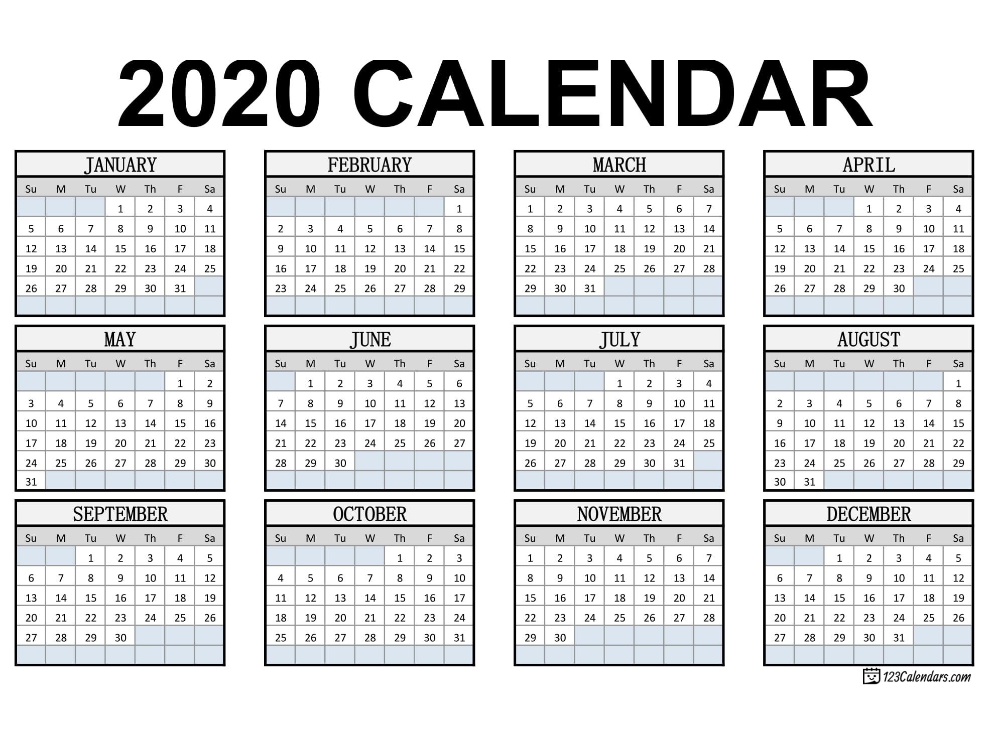 Free Printable Year 2020 Calendar   123Calendars
