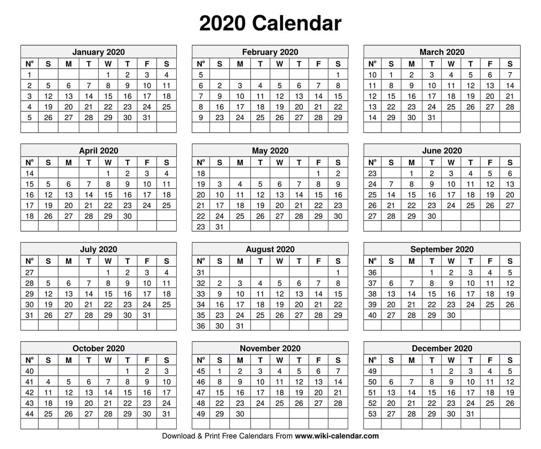 Free Printable Year 2020 Calendar