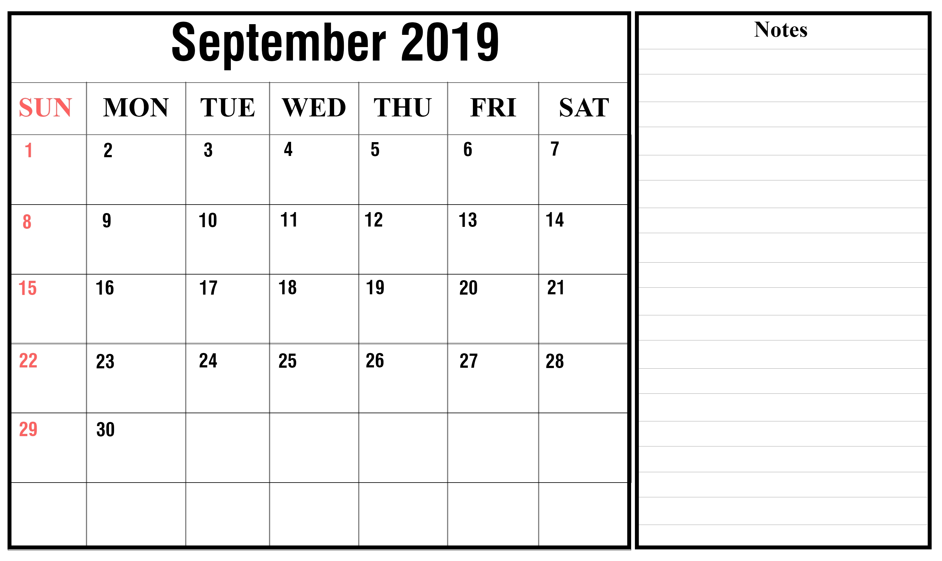 Free September 2019 Printable Calendar In Pdf, Excel & Word