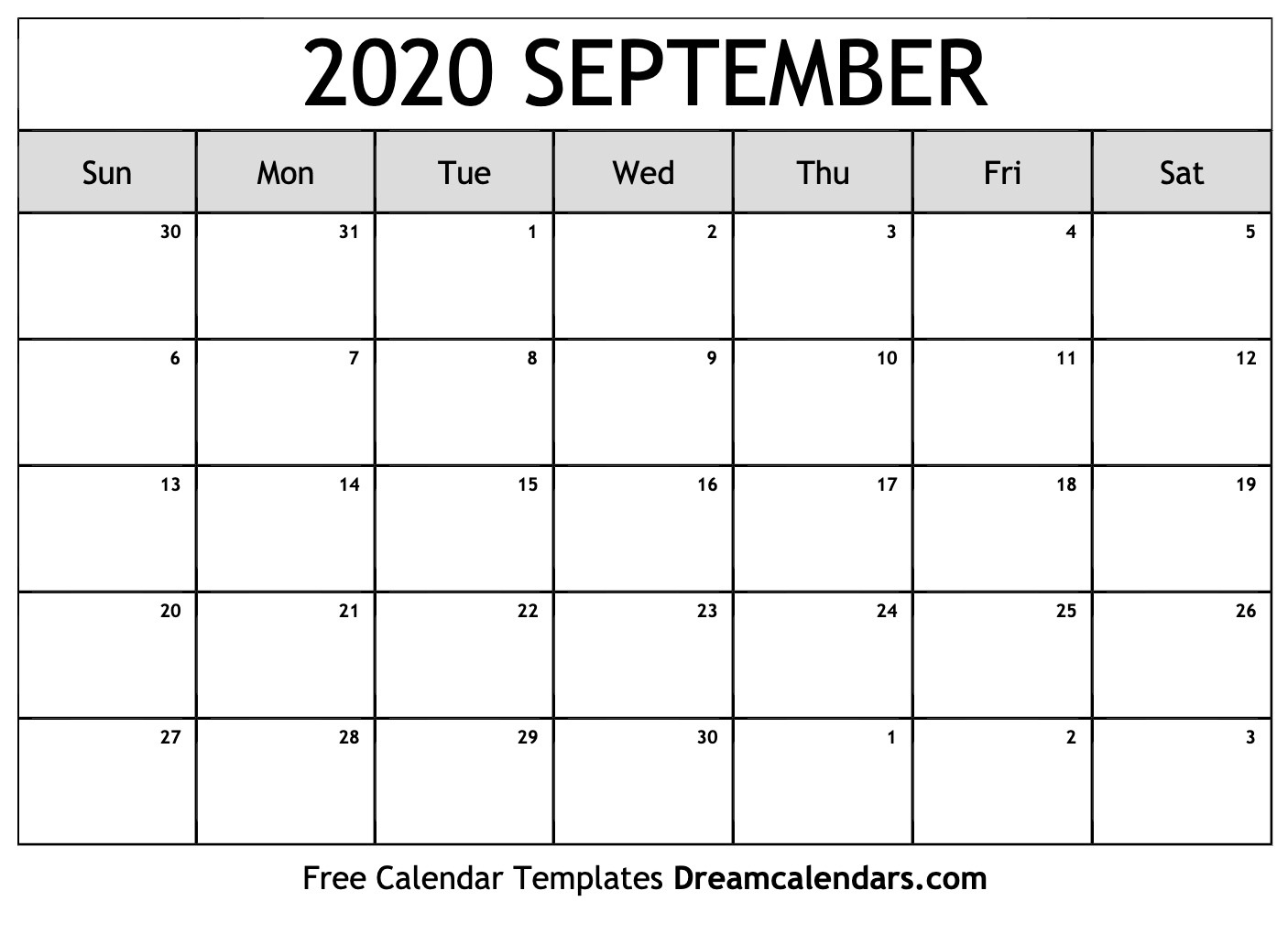 Free September 2020 Printable Calendar | Dream Calendars