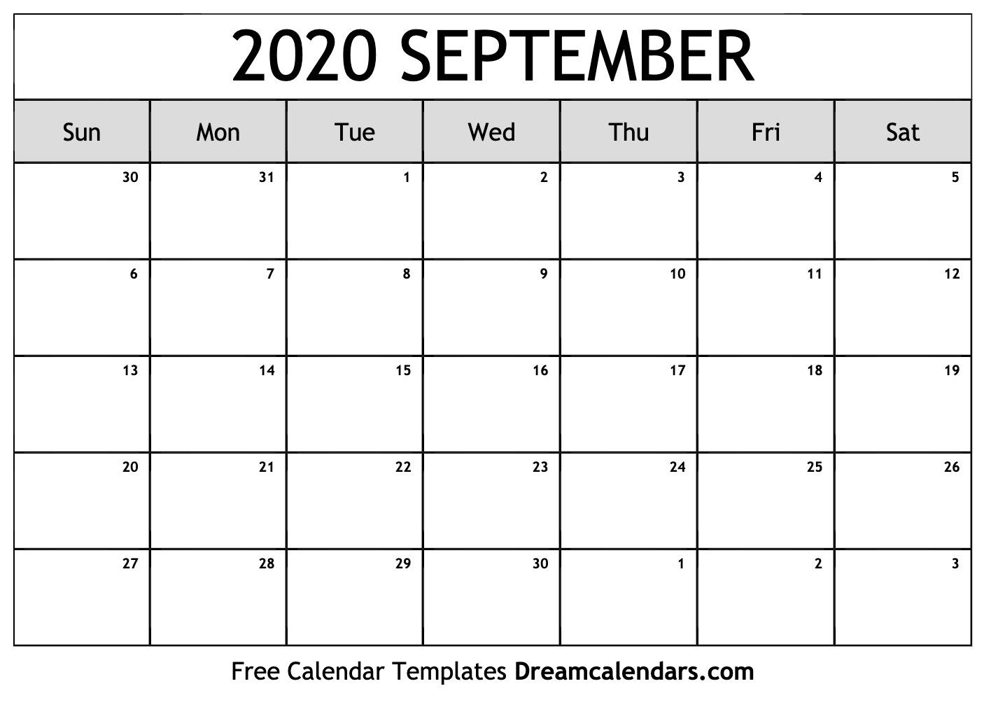 Free September 2020 Printable Calendar | Dream Calendars
