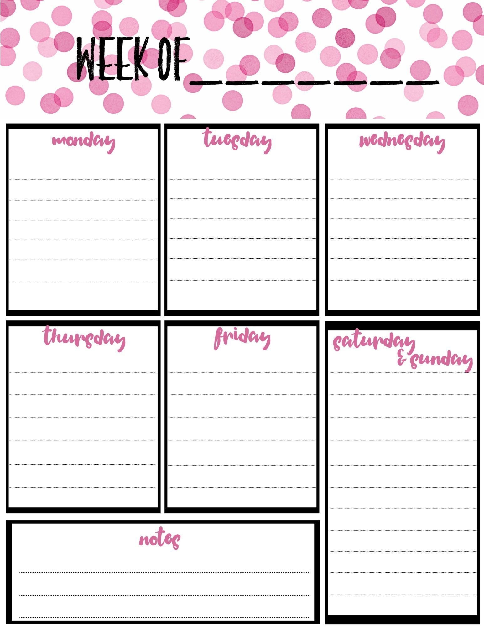 Free Weekly Calendar Planner Printable: Full And Half Size