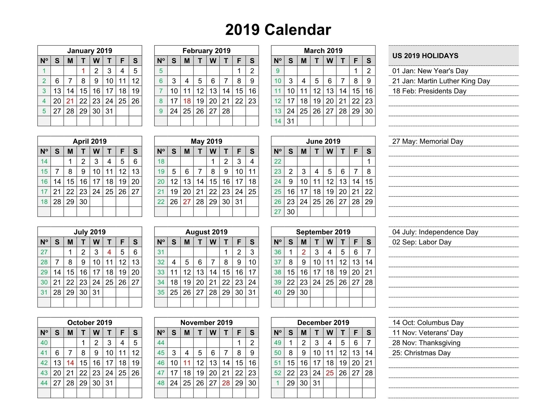 Free Yearly 2019 Calendar Printable Templates Editable