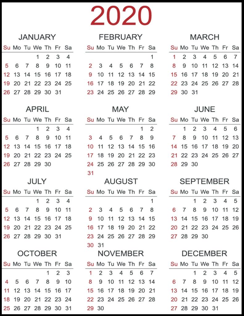 Free Yearly 2020 Printable Calendar Templates [Pdf, Word