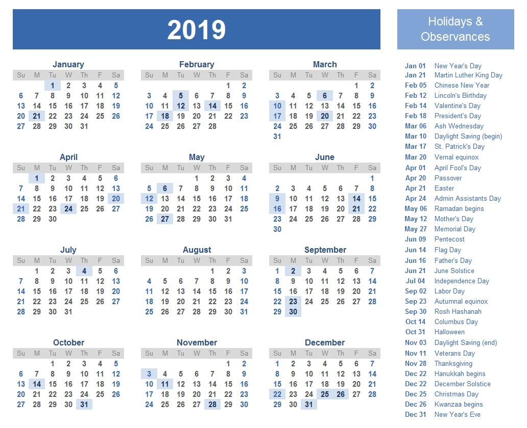 Free Yearly Printable Calendar 2019 With Uae (Dubai