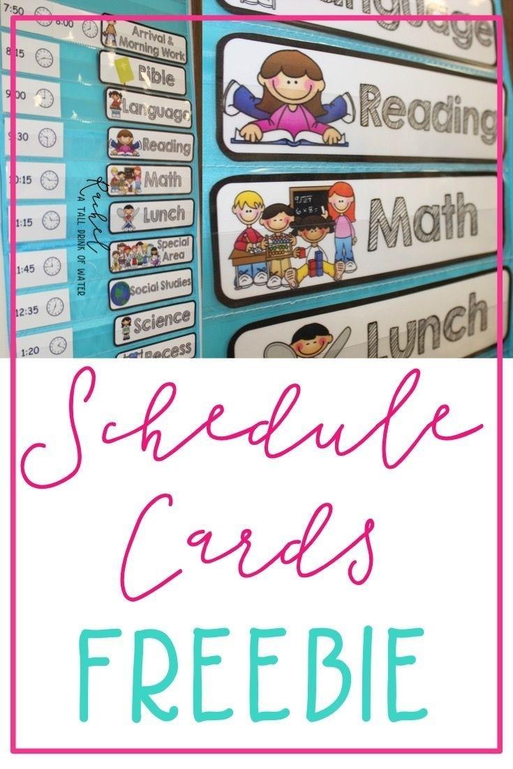 Freebie Schedule Cards | Classroom Schedule Cards, Classroom