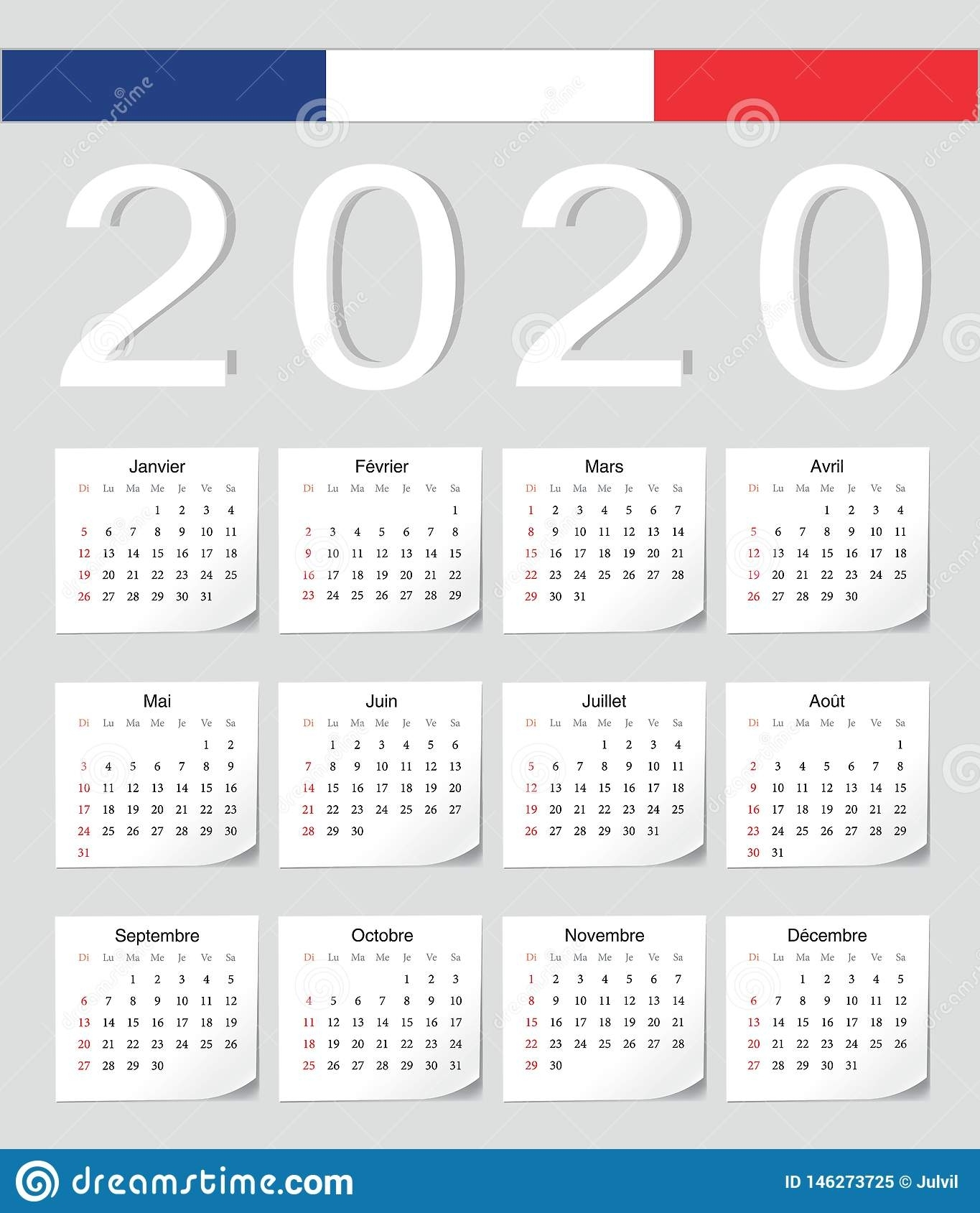 French 2020 Calendar Stock Vector. Illustration Of Organizer