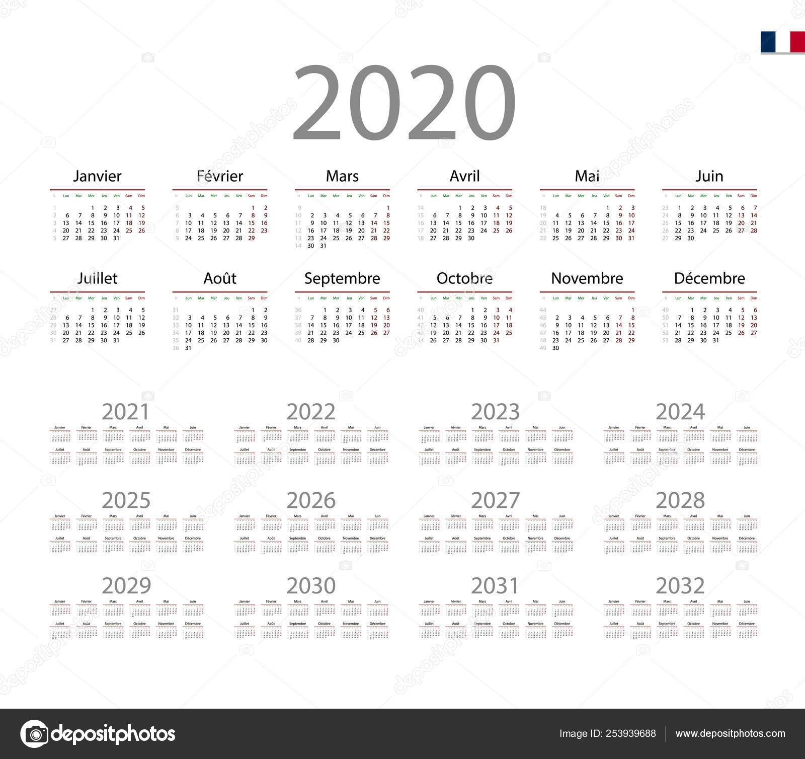 French Calendar For 2020. Week Starts On Monday — Stock