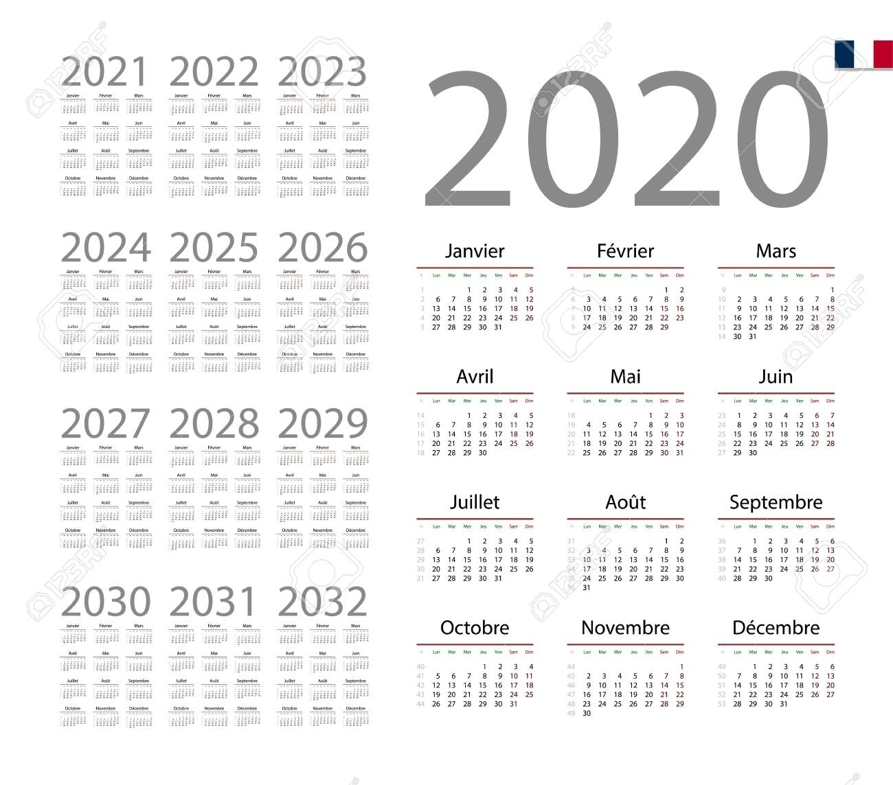 French Calendar For 2020. Week Starts On Monday