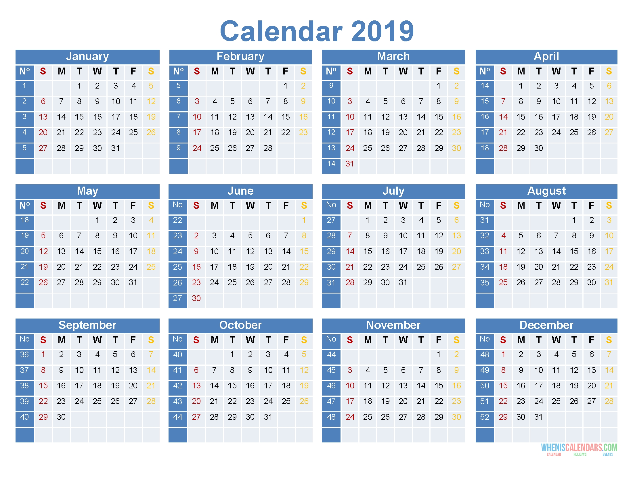 Full Year Calendar 2019 Printable 12 Month On 1 Page [ Us